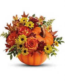 Pumpkin Planter Fall Flower Arrangement