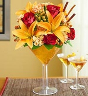 Pumpkin Spice Martini Fresh in Plastic Martini Glass in Bowerston, OH | LADY OF THE LAKE FLORAL & GIFTS
