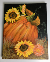 Pumpkin & Sunflowers  Acrylic Painting on Canvas
