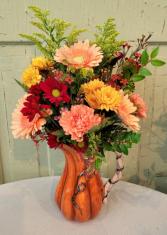 Punkin Pitcher Vase Arrangement