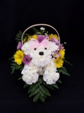 Puppy Dog Basket fresh arrangement