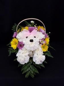 Puppy Dog Basket fresh arrangement