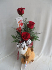 Puppy Love 3 Red Roses in a Budvase with Stuffed Puppy