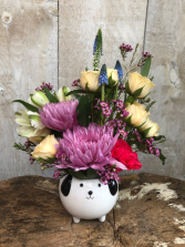 Mini Critter Keepsake  Arrangement in a ceramic pot