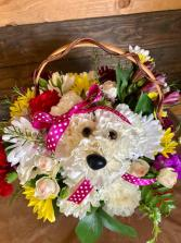 Puppy Love Basket Arrangement
