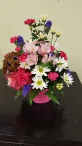 Puppy Love Bouquet basket arrangement with plush puppy