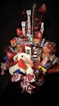 puppy love candy arrangement