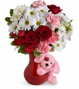 "Exclusively at Flowers Today Florist Puppy Love ""Ceramic Vase & Plush Pup"" in New Port Richey, FL 