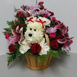Puppy Love Fresh Floral Basket