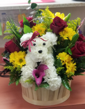 Puppy Love  Mixed floral  and Puppy