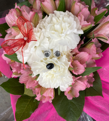 Puppy Surprise Wrapped Flower Bouquet Valentines Day Special