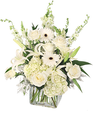 Pure Elegance Vase Arrangement in Okmulgee, OK | Roses & Lace Flowers