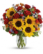 pure happines  gorges sunflowers and red rose mixed with  beautiful  fall flowers