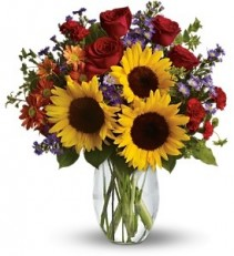 Sunflower Love  Vased Bouquet
