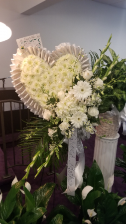 PURE IN WHITE CASCADING HEART FUNERAL ARRANGEMENT