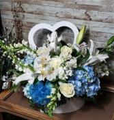 Pure Love  Blue & White Flower Heart Box