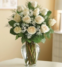 Pure Love Dozen White Roses Vased