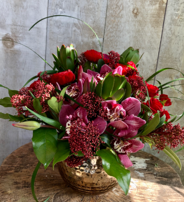 Pure Luxury  Deep reds and purples in a gold vase