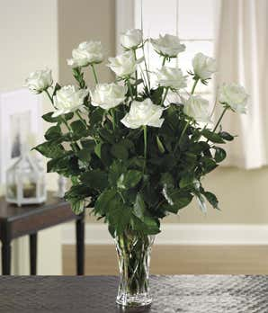 Pure Touch White Roses Arranged in Vase