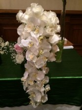 Pure White Phanaelopsis Cascade Bouquet
