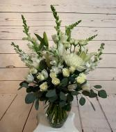 Pure White Vase tall  Arrangement