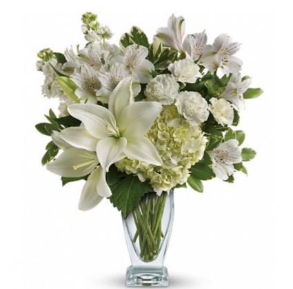 Green & White Garden Bouquet  Vase