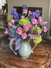 Purple & Pink Rose Carnation Pitcher Arrangement Mother's Day