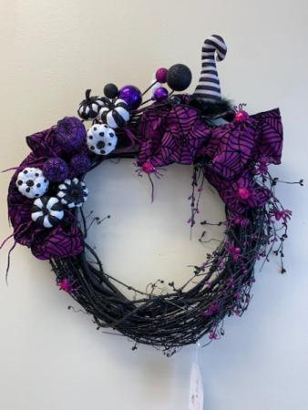 Purple and Black Witch Hat Wreath Halloween Wreath
