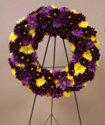Purple and Gold Pom Wreath - AWF11A