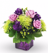 Purple and Green Surprise Square Vase arrangement