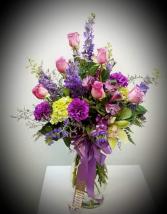 Purple and Green Sympathy Vase