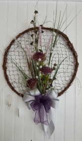 Purple and grey silk flowers Wall hanging