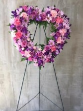 PURPLE AND LAVENDER HEART FUNERAL FLOWERS