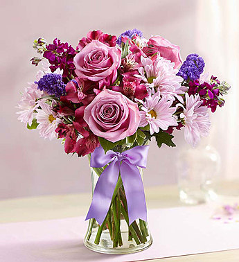 Purple and Pinks Delight Bouquet Fresh Vased