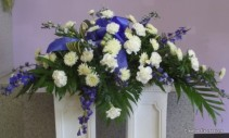 Blue and White Casket Spray Casket Flowers
