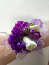 Purple and White Corsage
