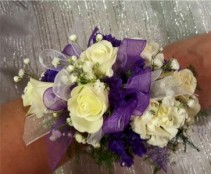 Purple and White corsage Corsage