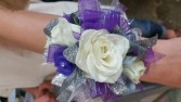 Purple and White Prom Corsage