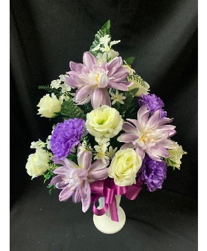 Purple and White Silk Cemetery Vase Arrangement in Red Lake, ON | FOREVER GREEN GIFT BOUTIQUE