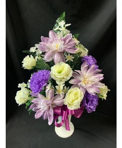 Purple and White Silk Cemetery Vase Arrangement