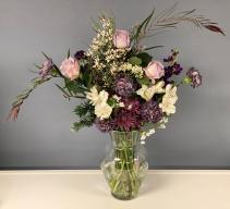 Purple and White Vase Vase Arrangement