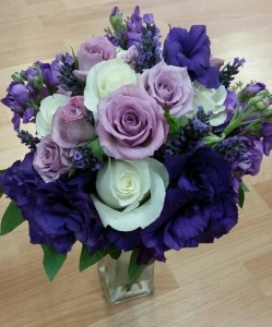 Purple and White Wedding Bouquet Hand-Tied Bridal Bouquet