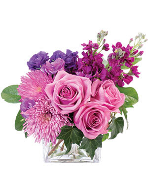 Purple Blooms of Bliss Floral Arrangement in Charlton, MA | Kathy's Garden Treasures