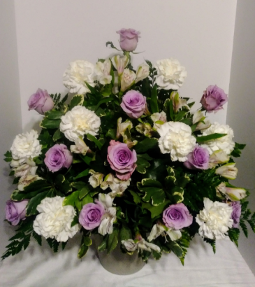Purple Blooms Sympathy Floor Basket