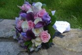 purple brides bouquet wedding