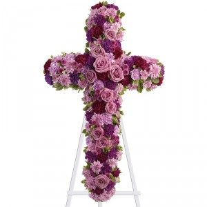 PURPLE CROSS SYMPATHY ARRANGEMENT in East Northport, NY | FLOWERS BY FRED