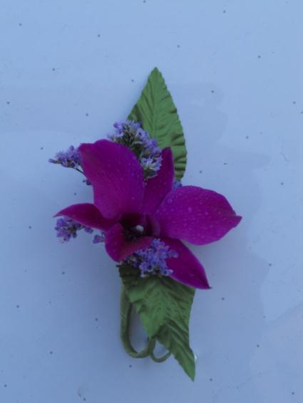 Purple Dendrobium Orchid with Limonium