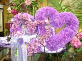 purple double heart standing spray Funeral