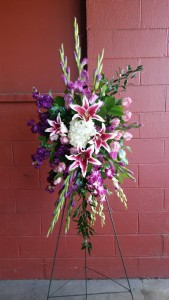 Purple Elegant  Standing Funeral Spray