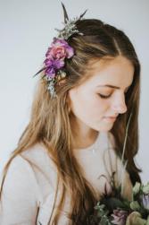 Purple floral Hair comb Hair flowers